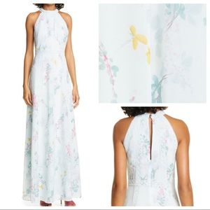 TED BAKER Dahleen Sorbet Lace Maxi Halter Dress
